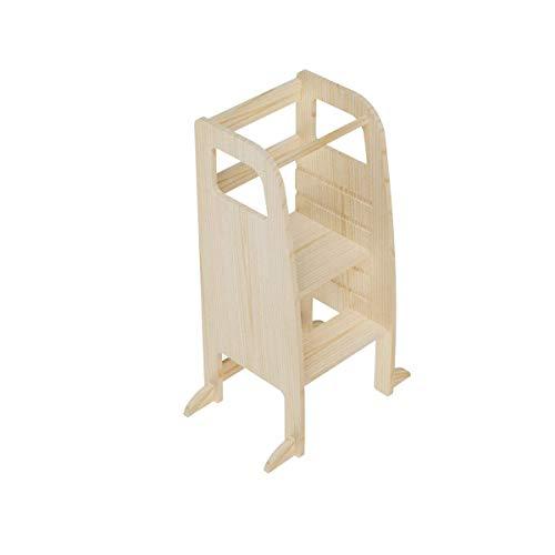 AtviKids Torre di Apprendimento Montessori Con 5 Altezze Regolabili | Learning Tower | Torre Attività | Sgabello da Cucina (Nature)