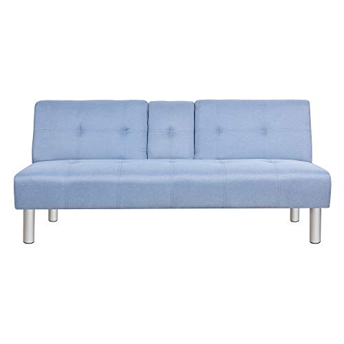 Uberlyfe Modern Lancaster Fabric Futon Sofa Bed Fold Up & Down Recliner Couch with Desk Holder- Sky Blue