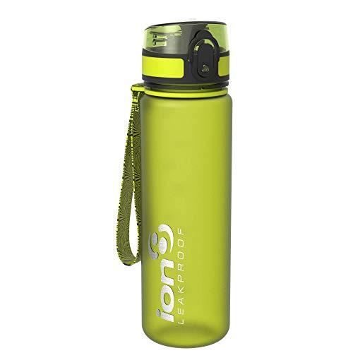 Ion8- Bottiglia per l'acqua, a prova di perdite, senza BPA., Unisex, Leak Proof BPA Free,Frosted Green, 500ml