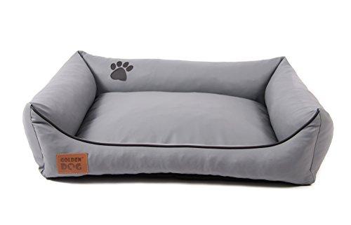 Hundebett Kunst Leder Luxus Hundebett Hundesofa Katzenbett Hundekorb S M L XL XXL XXXL Dollaro (XXXL (ca. 150x115 cm), grau)