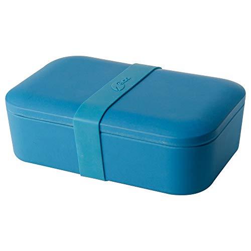 BIOZOYG Nachhaltige Lunchbox Erwachsene Bento Box Bambus Brotbox spülmaschinenfest I Robuste Vesperbox BPA frei Brotdose Bambus Brotzeitbox I Vesperdose Brotzeitdose Blau 19x13x6,5cm 900ml