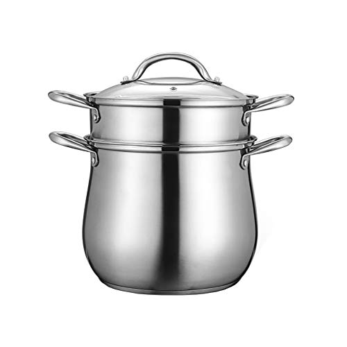 Heavy 2 Livello in Acciaio Inox Induzione Steamer Set, Steamer Pan/Stock Pot, Finitura lucidata a...
