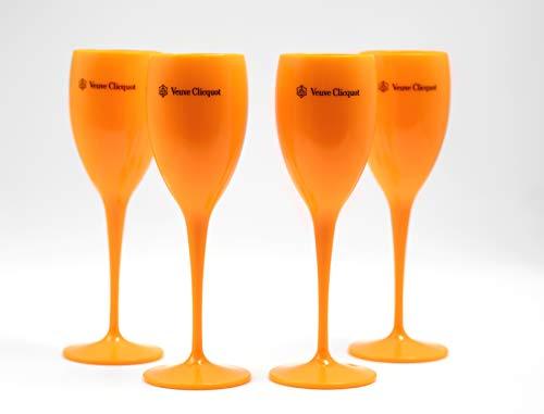 Veuve Clicquot - Set di 4 Bicchieri da Champagne in Acrilico, Colore: Rosa