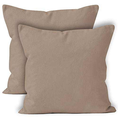 Encasa abitazioni ricco cotone cuscini-Set di due, Cotone, Beige, 60cm x 60cm (24' x 24')...