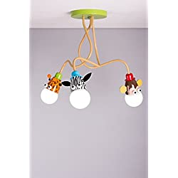 Lampadario da soffitto per bambini, unisex, ideale per illuminare la cameretta, motivo: giraffa, scimmia e zebra