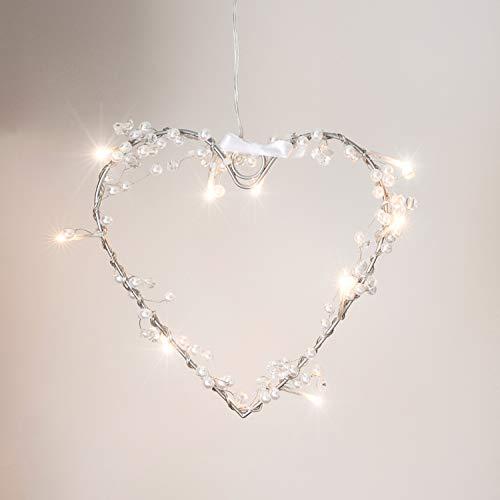 10er LED Lichterherz LED Herz Valentinstag Deko warmweiß batteriebetrieben