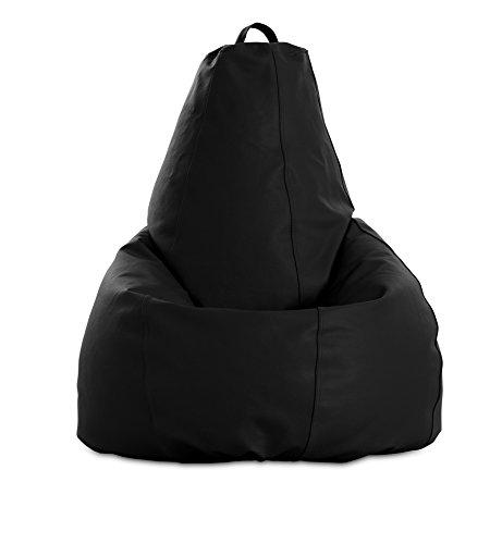 textil-home Diver-Puff - Poltrona Sacco modellabile XL - 80X80X130 cm- Colore Nero. Tessuto POLIPIEL Alta Resistenza - Doppio Rimbalzo - (Include Imbottitura di Palline di polistirene).