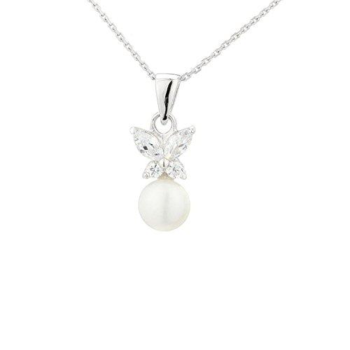 Colgante Mariposas perlas de cultura blanca y plata 925-Idea regalo
