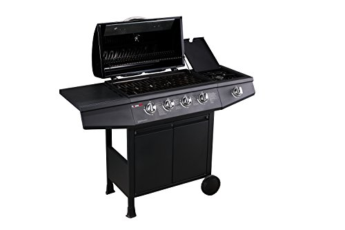 The BBQ has a stunningly built body that looks beautiful and pretty lightweight for easy moving between spots. In addition, it has plenty of storage underneath the burners, providing enough space for your gas bottle but it will need to be the smaller 5kg bottle, a 13kg will have to be placed by the side of the bbq, utensils, and food preparation. Featured on its double-walled aluminium hood is a temperature gauge for showing the conditions your food is cooking at without having to open the hood.