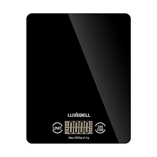 Báscula de Cocina Luxebell Balanza Digital de Pantalla LCD Táctil Sensible con Capacidad Máx. 5kg / 11 libras - Negro