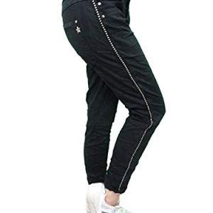 Karostar Stretch Baggy Boyfriend Jeans Nieten Seitenstreifen Black