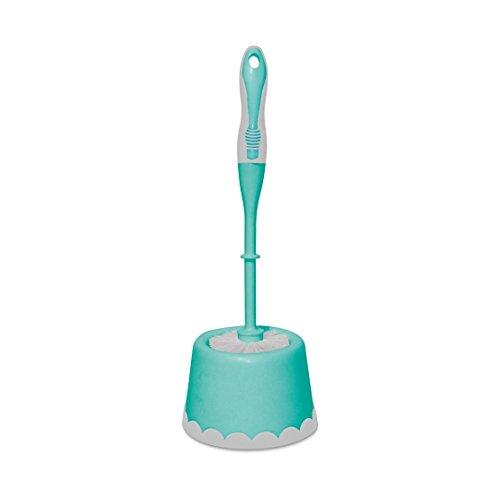 Spotzero by Milton Round Toilet Brush with Caddy (Aqua Green)