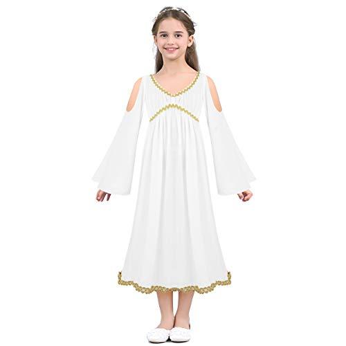 iEFiEL Disfraz de Diosa Griega para Niña Blanco Vestido Largo de Princesa Romana para Niña Chica Halloween Carnaval Blanco 2-3 Años