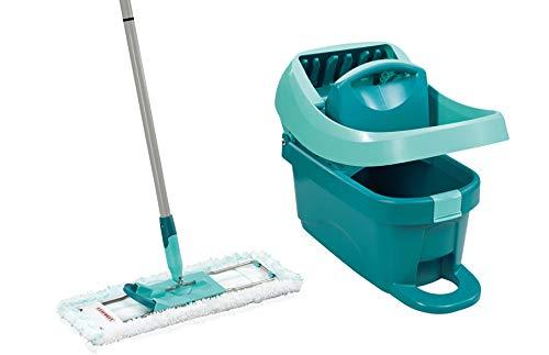 Leifheit Set Wischtuchpresse Profi XL mit Bodenwischer und Rollen zum Putzen mit sauberen Händen & ohne Bücken, Wischer für Ergebnisse wie handgewrungen