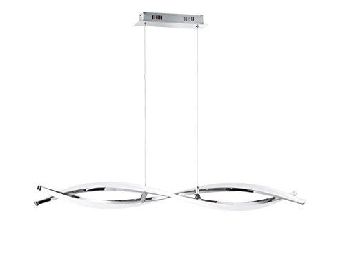 WOFI 7152.02.01.6000 A, Pendelleuchte, Metall, 25 watts, Integriert, Chrom, 100.5 x 15 x 150 cm