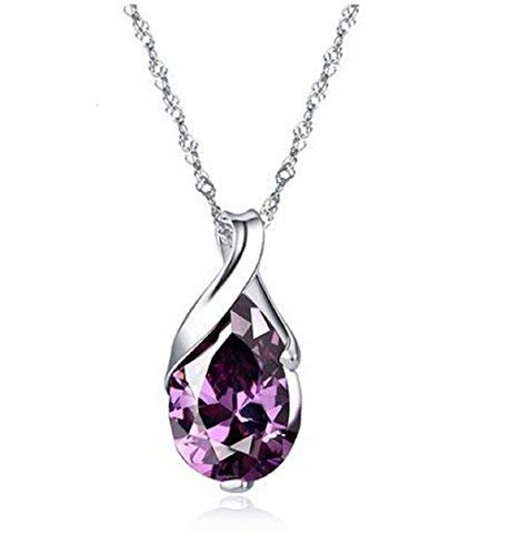 Crystal Wings Sterling Silver Pendant Necklace Silver Natural Amethyst Necklace (Gift box Included)