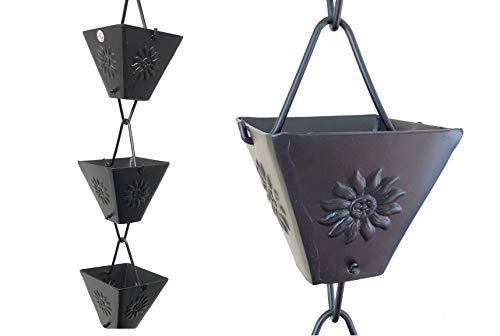 U-nitt 5515BLK Regenkette mit quadratischem Sonnenblumen-Prägung, Aluminium, Schwarz, 2,6 m lang