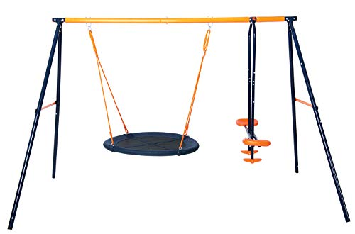 A simple swing set offering two forms of play, well-built and easy to assemble.