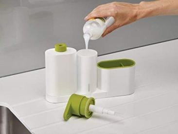 New Arrival Plastic 2 In 1 Multipurpose Sink Tidy Set Liquid Soap Dispenser, Standard, Multicolour 9