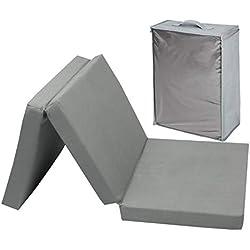 Zollner Colchón plegable para cuna de viaje, 60x120x6 cm, gris antracita