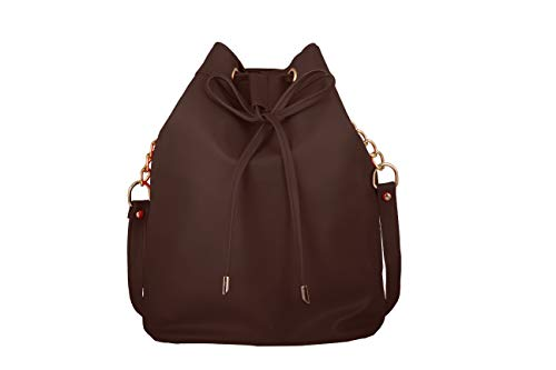 TAP FASHION Stylish Solid Color Bucket Sling Bag for Women/Girls (Brown, WSB-5130-28-ST-K)