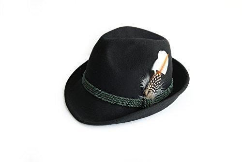 Trachtenhut aus 100% Wolle mit echter Feder, Farbe schwarz Gr. 56