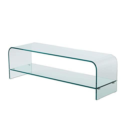 Qriosa Stile Italiano Mod. Plana - porta tv in vetro curvato