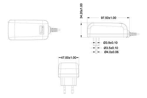 Ktec Alimentatore Universale, con Spina UE (3A, 12 V, 50/60 Hz), 5.5 x 2.5 mm, 183cm, nero-antracite