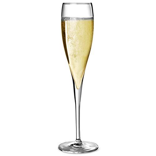 Vinoteque Perlage flute di champagne 178,6gram/180ml–Confezione da 6  Vinoteque Perlage flutes, bicchieri di vino frizzante, spumante, calici da champagne, bicchieri degustazione hyx Crystal champagne Luigi Bormioli