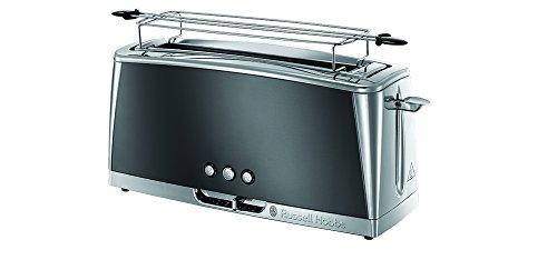 Russell Hobbs Toaster Langschlitz Luna grau, inkl. Brötchenaufsatz, 6 einstellbare Bräunungsstufen + Auftau- & Aufwärmfunktion, Schnell-Toast-Technologie, 1420W, 23251-56