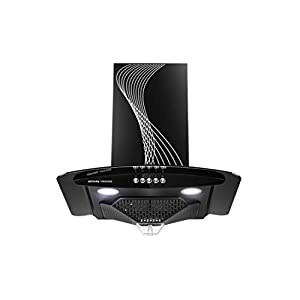 KUTCHINA 60 cm Chimney with 100% Oil Suction Technology,with Free Installation Kit (VIRGOSE 60, Push Button, Black)