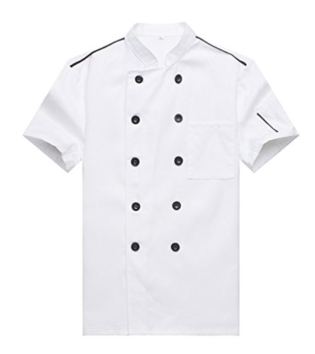 WAIWAIZUI Cocina Uniforme Camisa de Cocinero Manga Corta Blanco