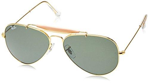 Rayban Aviator unisex Sunglasses (RB3129 W0226 58 14|58 millimeters|Green)