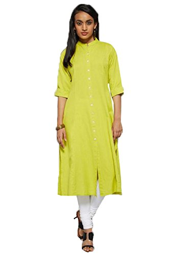 Kurti (Leriya Fashion Women's Cotton 3/4 Sleeve Long Yellow Color Women Kurti)