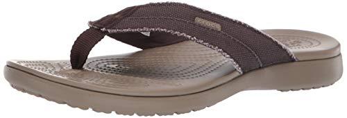 Crocs Santa Cruz Canvas Flip M, Scarpe da Spiaggia e Piscina Uomo, Multicolore (Espresso/Khaki 000),...