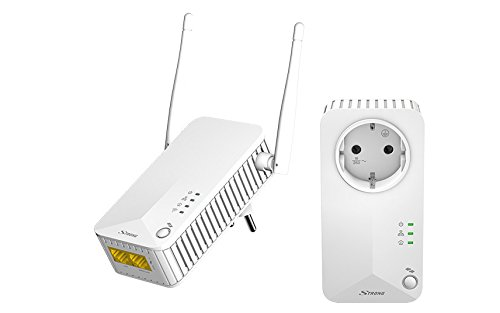 Strong Powerline WiFi 500 Kit, WiFi+LAN 500 MBit/s Strong Powerline 500 Kit, Presa Integrata,...