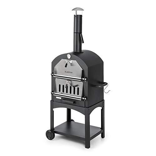 Klarstein Pizzaiolo Perfetto • forno per pizza • forno per grigliare • termometro integrato • pietra per pizza chamotte • superficie per griglia 50 x 35 cm • acciaio spessore 1,2 mm • nero