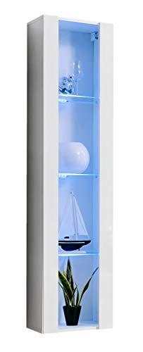 muebles bonitos Vetrinetta Moderna sospesa Modello Capri Bianco con LED - Larghezza: 40cm x Altezza:...