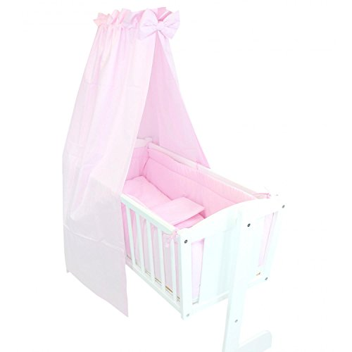 TupTam Unisex Baby Wiegen-Bettwäsche-Set 6-TLG, Farbe: Rosa, Anzahl der Teile:: 6 TLG. Set