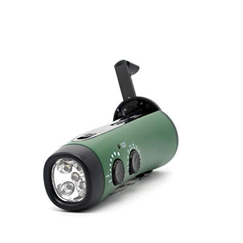 Emergency Hand Crank Self Poweredwith LED Flashlight FM/AM/NOAA Radio 1000mAh (Green, OneSize)