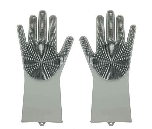 Guanti in silicone riutilizzabile Magic Saksak con lavasciuga (13,6 'di grandi dimensioni) (Gray)