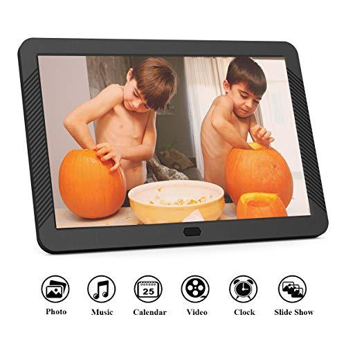 Digitaler Bilderrahmen 8 Zoll 1920x1080 Hochauflösend Full IPS Bildschirm Video Musik Player mit Kalender/Wecker, Elektronischer Fotorahmen mit Fernbedienung, Schwarz