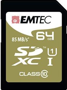 Emtec 64GB Class10 Gold + 64GB SDXC Clase 10 memoria flash - Tarjeta de memoria (64 GB, SDXC, Clase 10, 85 MB/s, Negro, Marrón)