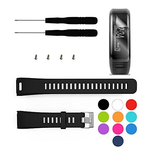 TUSITA Cinturino per Garmin Vivosmart HR - Sostituzione Silicone Fascia con Pellicola - Accessori GPS Smart Watch (Nero)