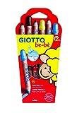 Giotto be-bè 466400 - Estuche 6 lápices de colores, (mina de 7 mm diámetro, capuchón posterior de seguridad anti-mordedura, anti-hogo y sacapuntas), multicolor