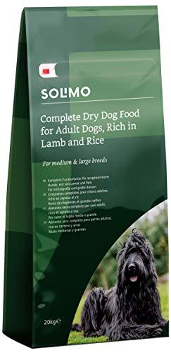 Marca Amazon - Solimo - Alimento seco completo para perro adulto rico en cordero y arroz, 1 Pack de 20 kg
