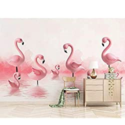 Papier peint mural moderne 3D Flamingo enfants chambre fond mur fille garçon mignon rose chambre fond murale 3D tissu de soie (W)400x(H)280cm