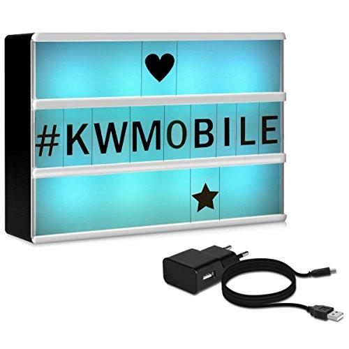 kwmobile Lightbox luminoso cambia colore - illuminazione in 7 colori con 126 lettere nere - Lavagna...