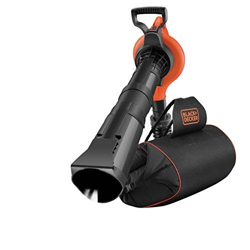 Black+Decker GW3031BP Elektro Laubsauger & Laubbläser mit Häcksler, 72l Fangsack-Rucksack, Laubrechen & Tragegurt / Hohe Blasgeschwindigkeit & Saugleistung / 3000W