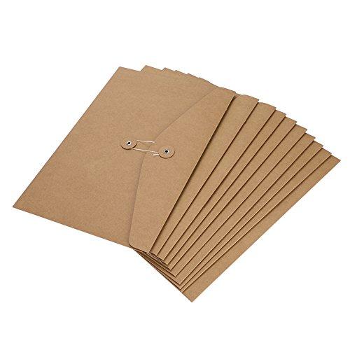 10 x A4 Umschläge, Mappen, Kraftpapier, Folio-Format, Dokumentenmappe, Dokumententaschen, Aufbewahrungstasche, Papier-Organizer mit Kordel-Verschluss für Büro, Schule, Reisen Kraft Paper Horizontal